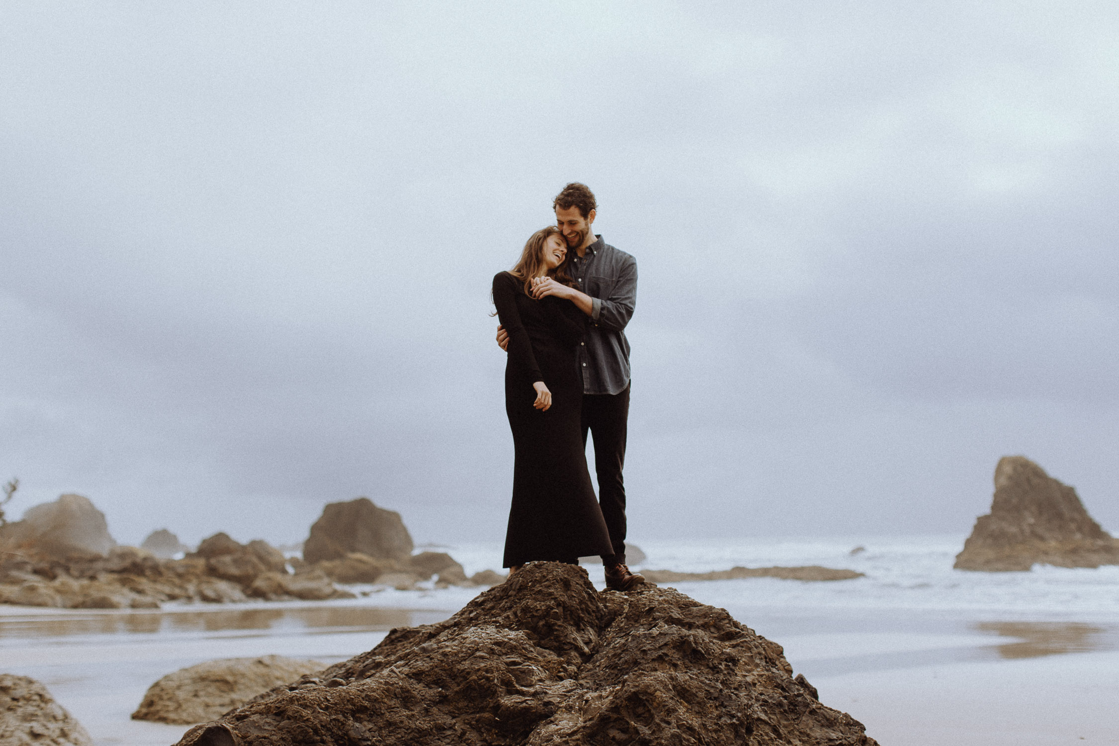 Indian Beach engagement in Ecola State Park in Oregon