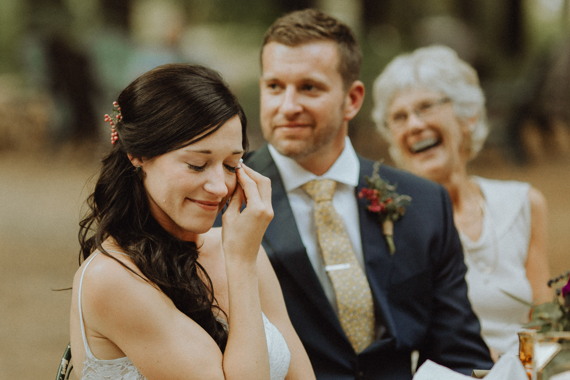Bride crying at Loloma Lodge wedding in McKenzie Bridge, Oregon