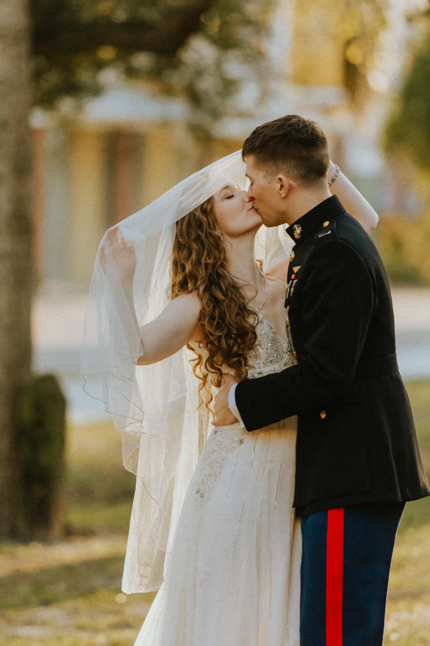 Wedding couple kissing in Bay St. Louis, Mississippi